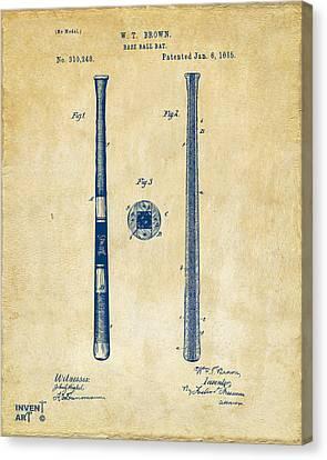 1885 Baseball Bat Patent Artwork - Vintage Canvas Print by Nikki Marie Smith