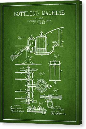 1885 Bottling Machine Patent - Green Canvas Print by Aged Pixel