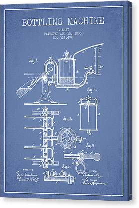 1885 Bottling Machine Patent - Light Blue Canvas Print by Aged Pixel