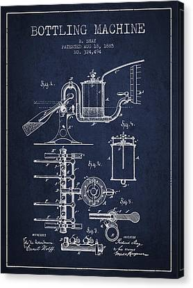 1885 Bottling Machine Patent - Navy Blue Canvas Print by Aged Pixel
