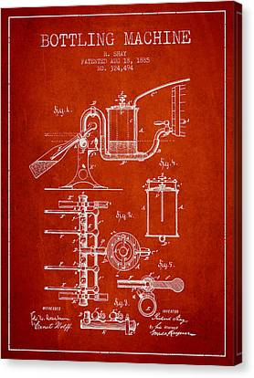 1885 Bottling Machine Patent - Red Canvas Print by Aged Pixel