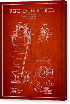 1885 Fire Extinguisher Patent - Red Canvas Print by Aged Pixel