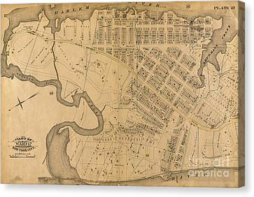 Canvas Print featuring the photograph 1885 Inwood Map  by Cole Thompson