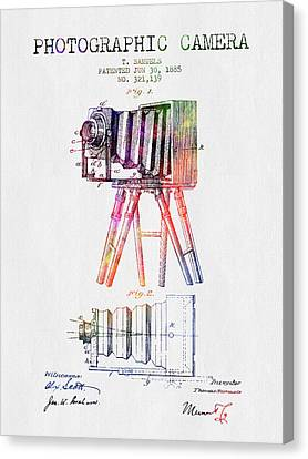 1885 Photographic Camera Patent - Color Canvas Print by Aged Pixel