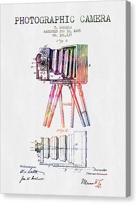 1885 Photographic Camera Patent - Color Canvas Print