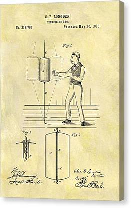 Boxer Canvas Print - 1885 Punching Bag Patent by Dan Sproul