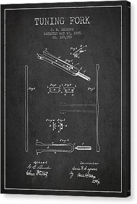 Celebrities Canvas Print - 1885 Tuning Fork Patent - Charcoal by Aged Pixel