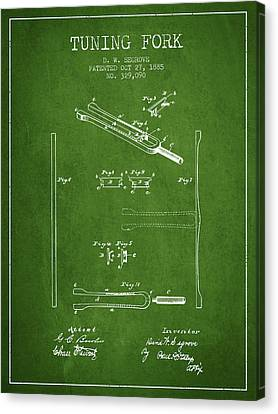 Celebrities Canvas Print - 1885 Tuning Fork Patent - Green by Aged Pixel