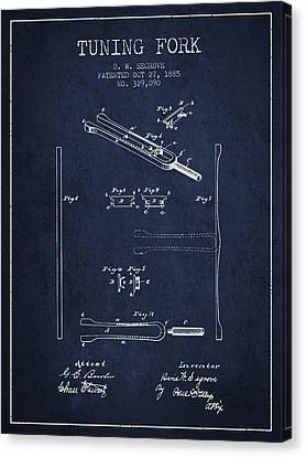 Celebrities Canvas Print - 1885 Tuning Fork Patent - Navy Blue by Aged Pixel