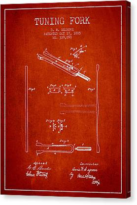 Celebrities Canvas Print - 1885 Tuning Fork Patent - Red by Aged Pixel