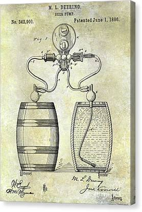 Stein Canvas Print - 1886 Beer Pump Patent by Jon Neidert