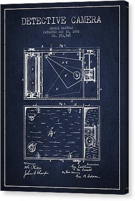 1886 Detective Camera Patent - Navy Blue Canvas Print
