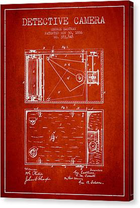 1886 Detective Camera Patent - Red Canvas Print