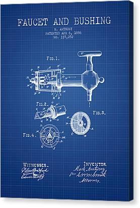 1886 Faucet And Bushing Patent - Blueprint Canvas Print