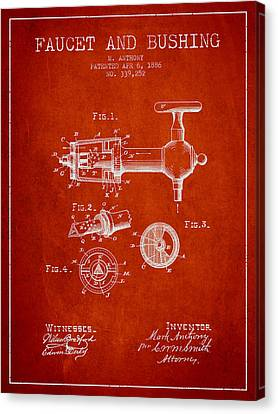 1886 Faucet And Bushing Patent - Red Canvas Print by Aged Pixel
