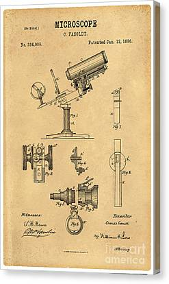 1886 Microscope Patent Art Fasoldt 3 Canvas Print