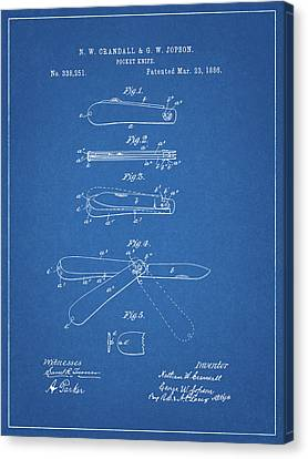 Swiss Canvas Print - 1886 Pocket Knife Patent by Dan Sproul