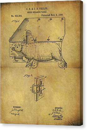 1886 Sheep Shearing Table Patent Canvas Print by Dan Sproul