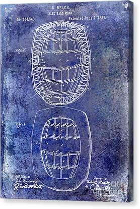 1887 Baseball Mask Patent  Blue Canvas Print by Jon Neidert