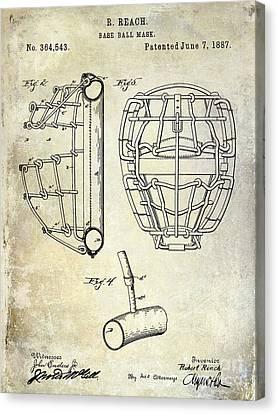 1887 Baseball Mask Patent Canvas Print by Jon Neidert