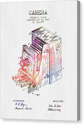 1887 Camera Patent - Color Canvas Print by Aged Pixel
