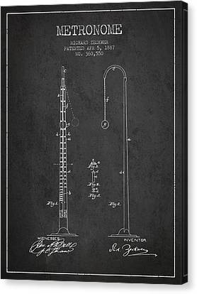 Celebrities Canvas Print - 1887 Metronome Patent - Charcoal by Aged Pixel