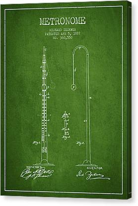 Celebrities Canvas Print - 1887 Metronome Patent - Green by Aged Pixel