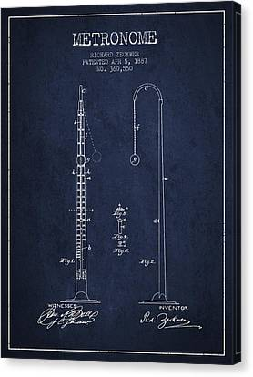 Celebrities Canvas Print - 1887 Metronome Patent - Navy Blue by Aged Pixel