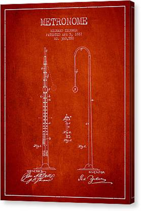Celebrities Canvas Print - 1887 Metronome Patent - Red by Aged Pixel