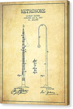 Celebrities Canvas Print - 1887 Metronome Patent - Vintage by Aged Pixel