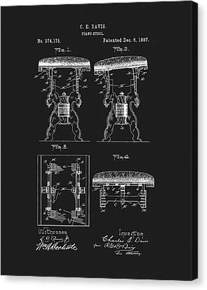 Classical Music Canvas Print - 1887 Piano Stool Patent by Dan Sproul