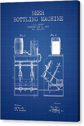 1888 Beer Bottling Machine Patent - Blueprint Canvas Print by Aged Pixel
