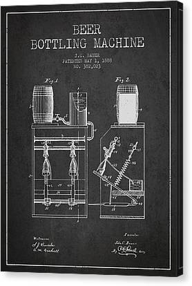 1888 Beer Bottling Machine Patent - Charcoal Canvas Print by Aged Pixel