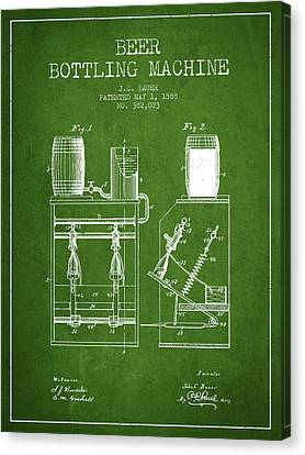 1888 Beer Bottling Machine Patent - Green Canvas Print by Aged Pixel