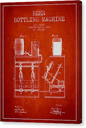 1888 Beer Bottling Machine Patent - Red Canvas Print by Aged Pixel