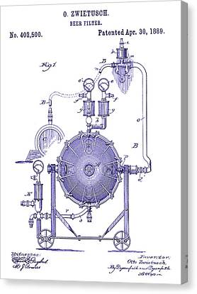 Stein Canvas Print - 1889 Beer Filter Patent by Jon Neidert