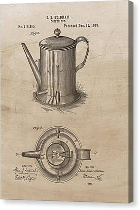 Coffee Beans Canvas Print - 1889 Coffee Pot Patent Illustration by Dan Sproul