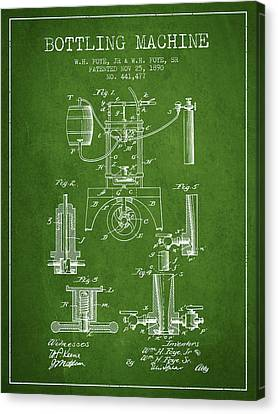 1890 Bottling Machine Patent - Green Canvas Print by Aged Pixel