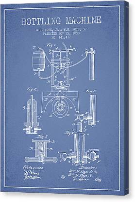 1890 Bottling Machine Patent - Light Blue Canvas Print by Aged Pixel