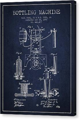 1890 Bottling Machine Patent - Navy Blue Canvas Print by Aged Pixel