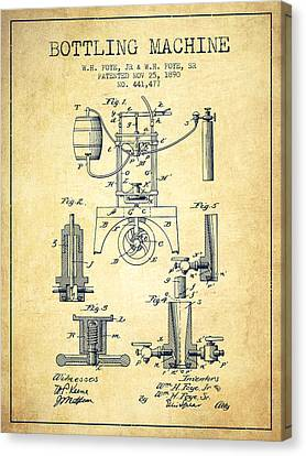 1890 Bottling Machine Patent - Vintage Canvas Print by Aged Pixel