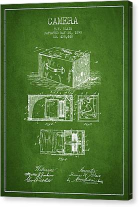 1890 Camera Patent - Green Canvas Print by Aged Pixel