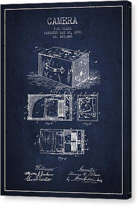 1890 Camera Patent - Navy Blue Canvas Print by Aged Pixel