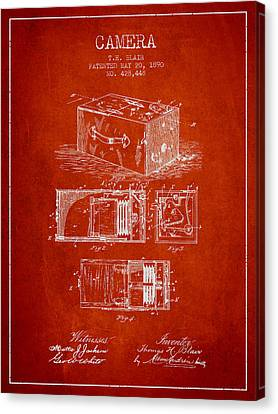 1890 Camera Patent - Red Canvas Print by Aged Pixel