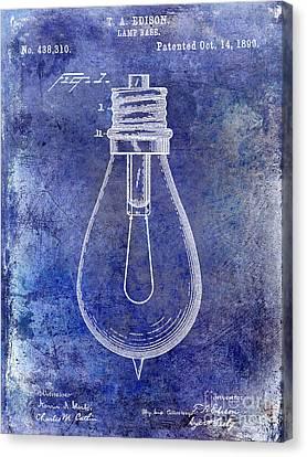 Old Light Bulb Canvas Print - 1890 Light Bulb Patent Blue by Jon Neidert
