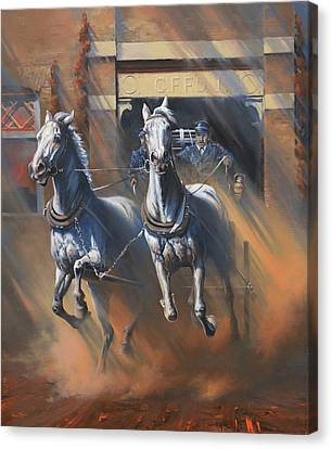 Art Of Mia Delode Canvas Print - 1890's First Responders by Mia DeLode