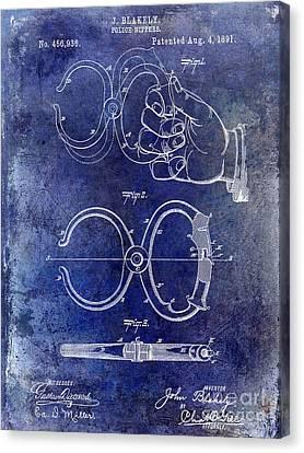 1891 Handcuff Patent Blue Canvas Print