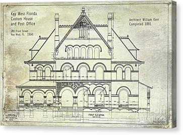 1891 Key West Blueprint Of The Custom House Canvas Print
