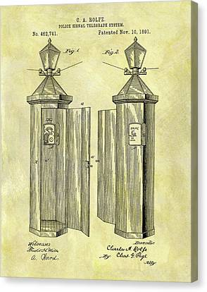 Officer Canvas Print - 1891 Police Call Box Patent by Dan Sproul