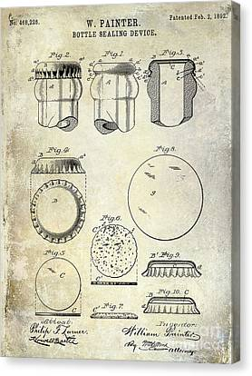 1892 Bottle Cap Patent  Canvas Print by Jon Neidert